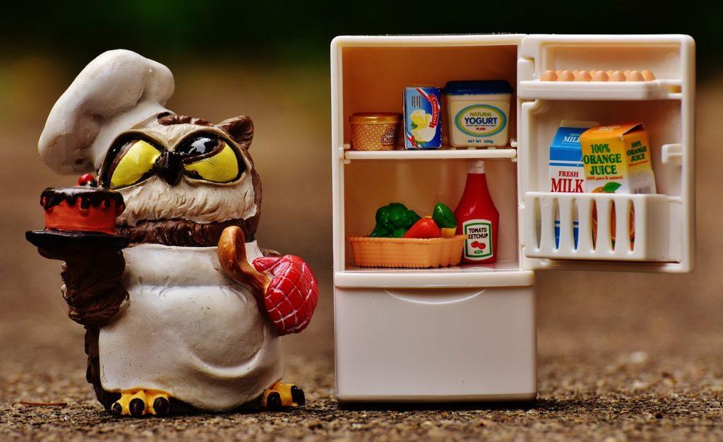 figurka sowy przebranej za kucharza stojąca przy lodówce