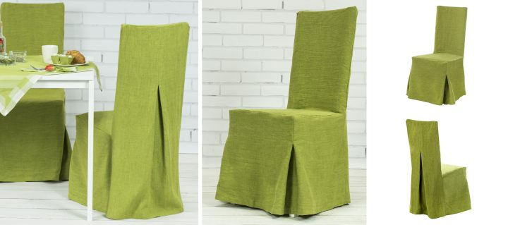 lniane pokrowce na krzesła zielone