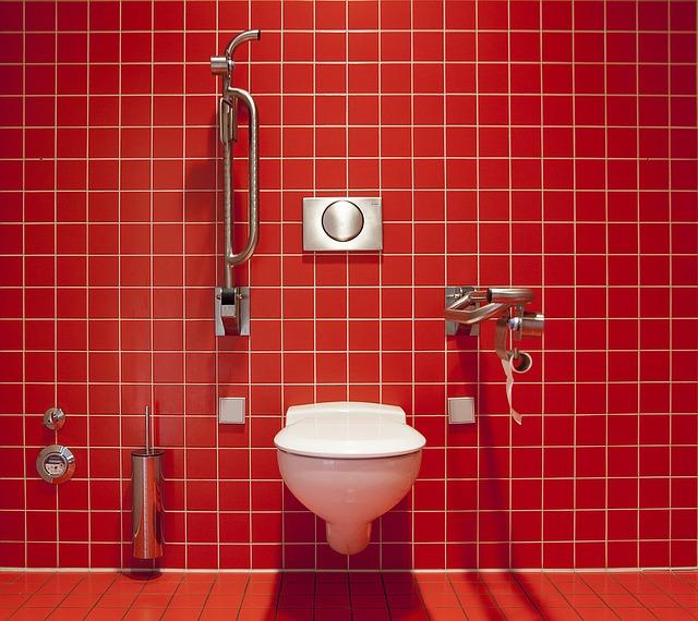 Czerwone wnętrze toalety i akcesoria w kolorze białym.