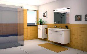 Łazienka wyposażona w wiszące szafki łazienkowe wygląda naprawdę ładnie.