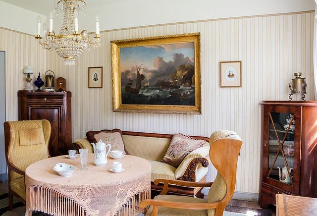 klasyczne meble z drewna w przytulnym salonie