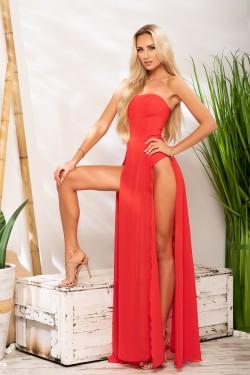 eleganckie sukienki maxi czerwone